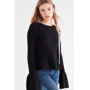 Urban Outfitters Isabell Black Bell Sleeve Sweater